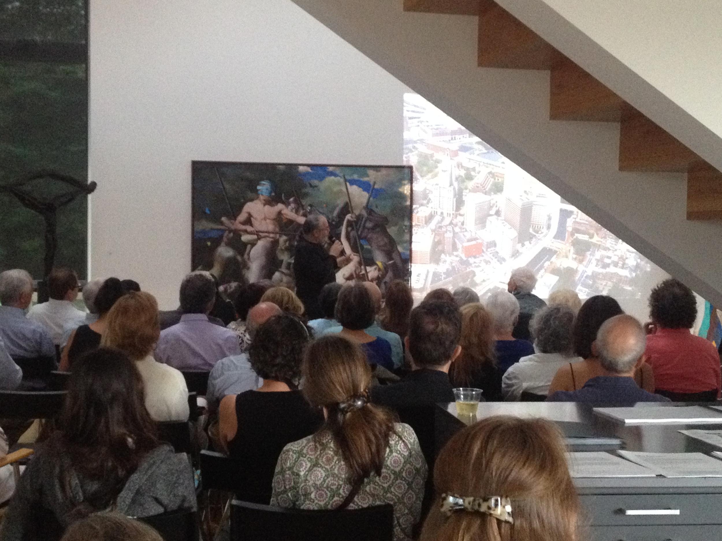 Barnaby Evans giving his talk, WaterFire:Illuminating the Mirror