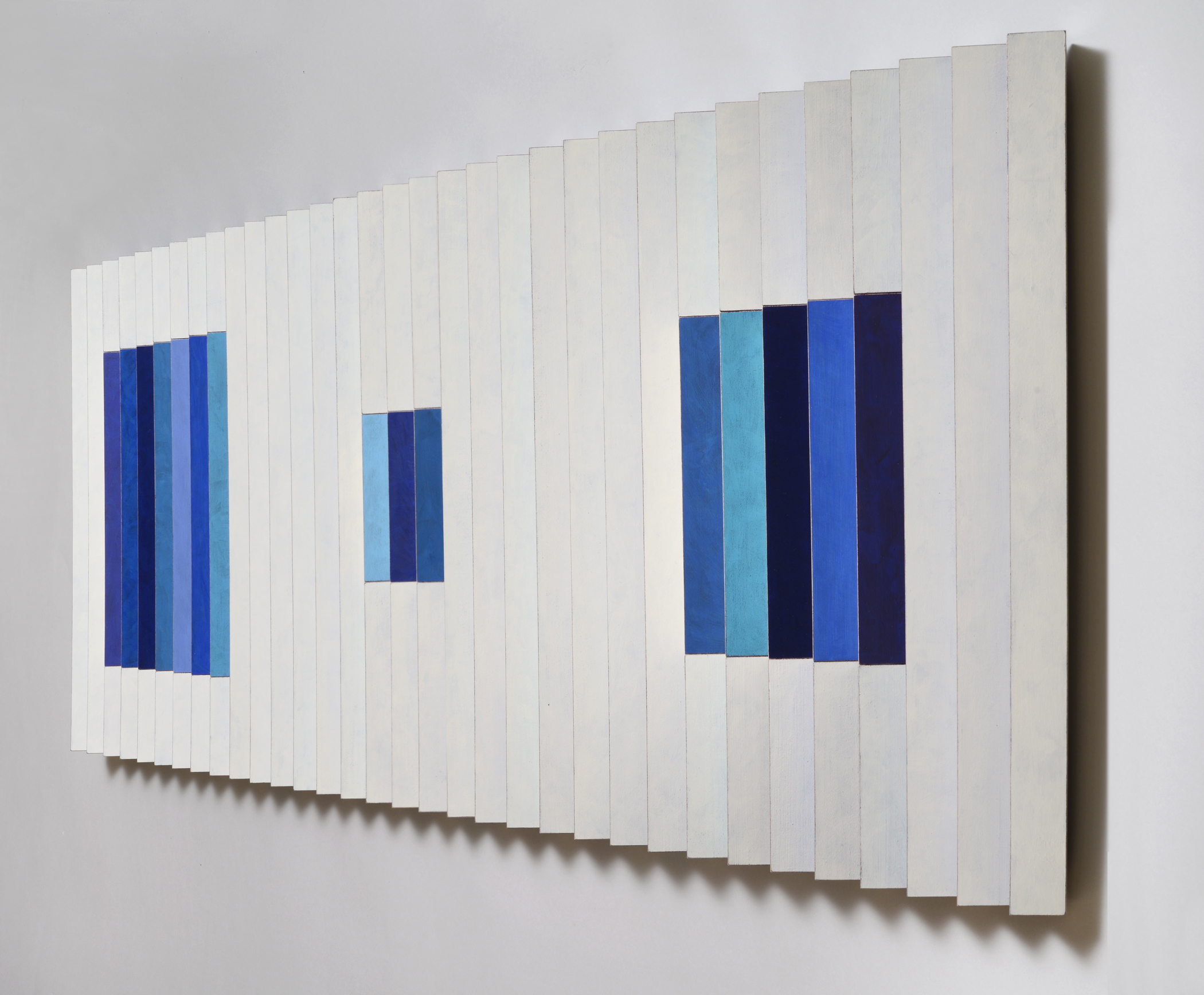 "Windows in Blue (Right)  Emi Ozawa, 2014  Acrylic on Poplar  19 1/2""Hx59""Wx2""D"