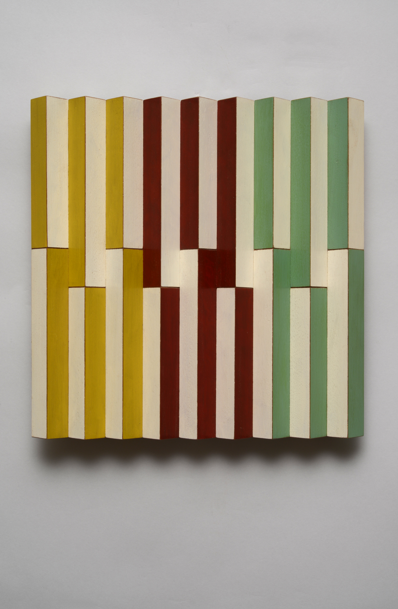 "Evenly Uneven (Center)  Emi Ozawa, 2014  Acrylic on Mahogany  10 1/2""H x10 1/4""W x 1 1/2""D"