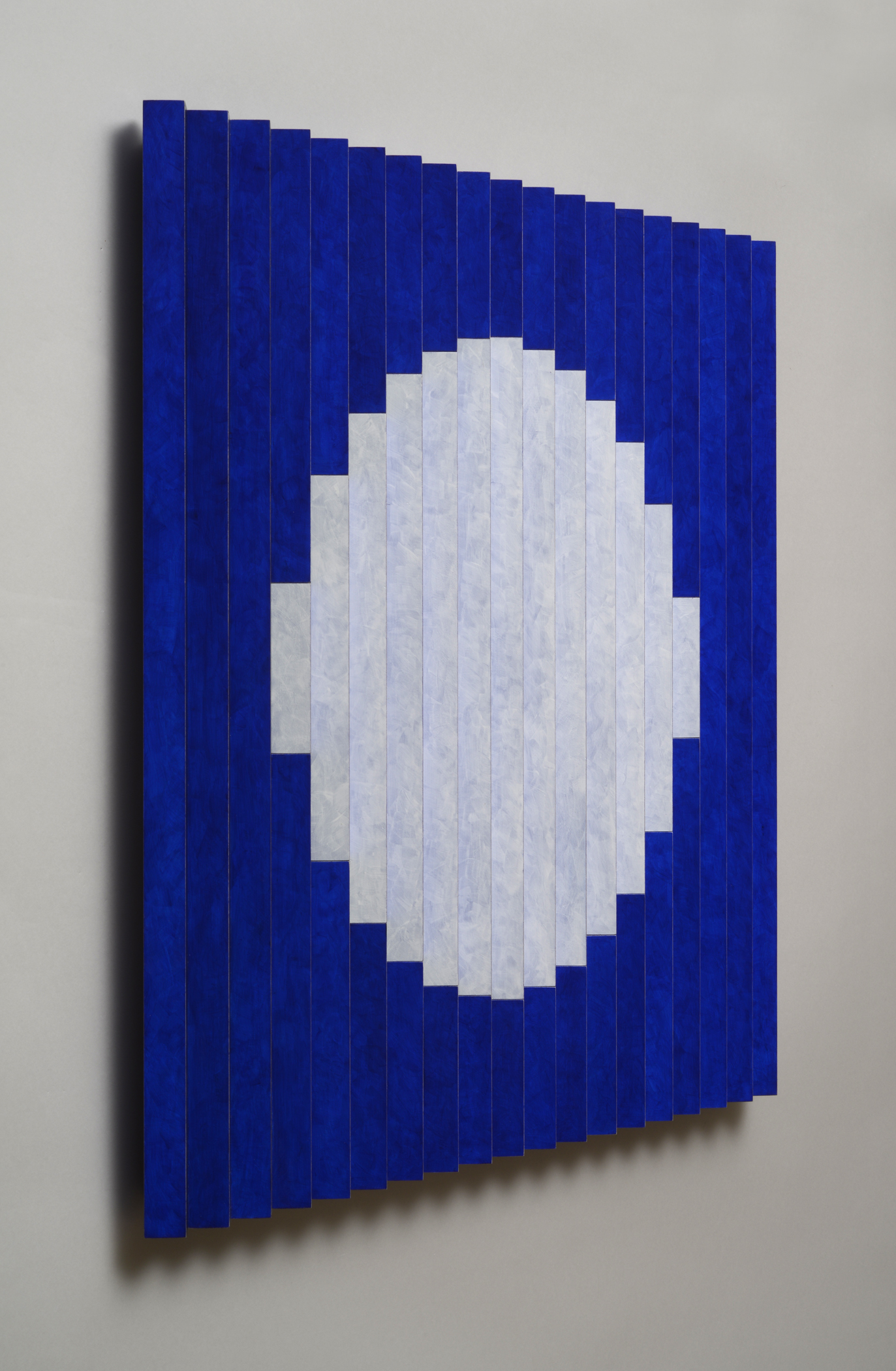 "Once in a Blue Moon (Left)  Emi Ozawa, 2014  Acrylic paint on Poplar  25 5/5""H x 25 1/4""W x 1 1/2""D"