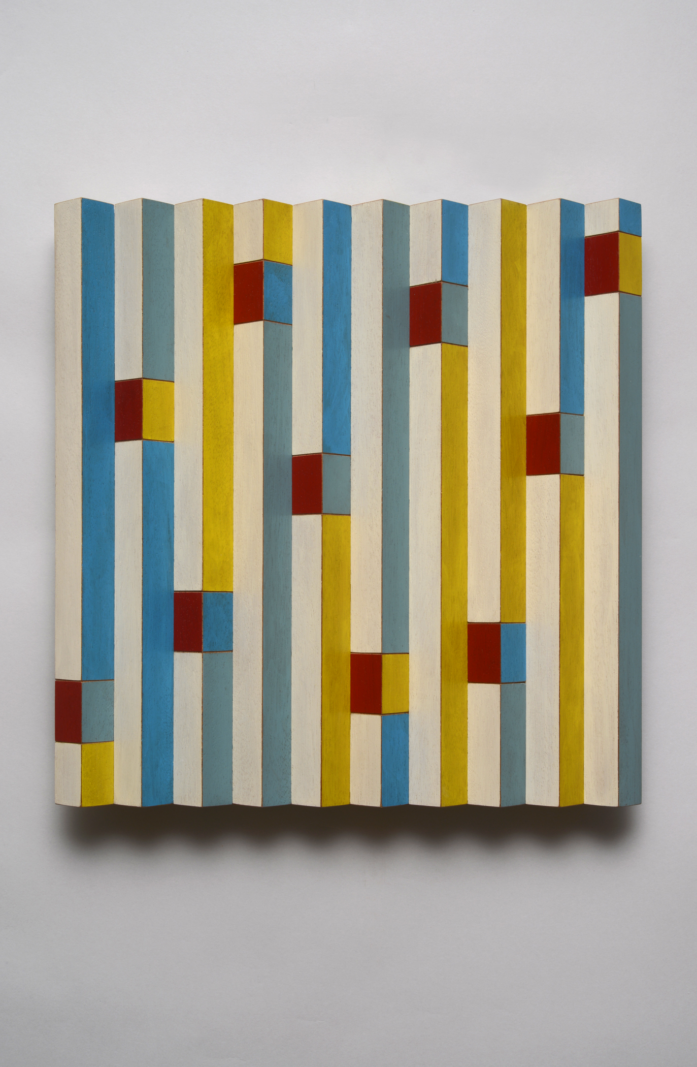 "Signals (Center)  Emi Ozawa, 2014  Acrylic on Mahogany  11 7/8""H x 11 5/8""W x 1 1/2""D"