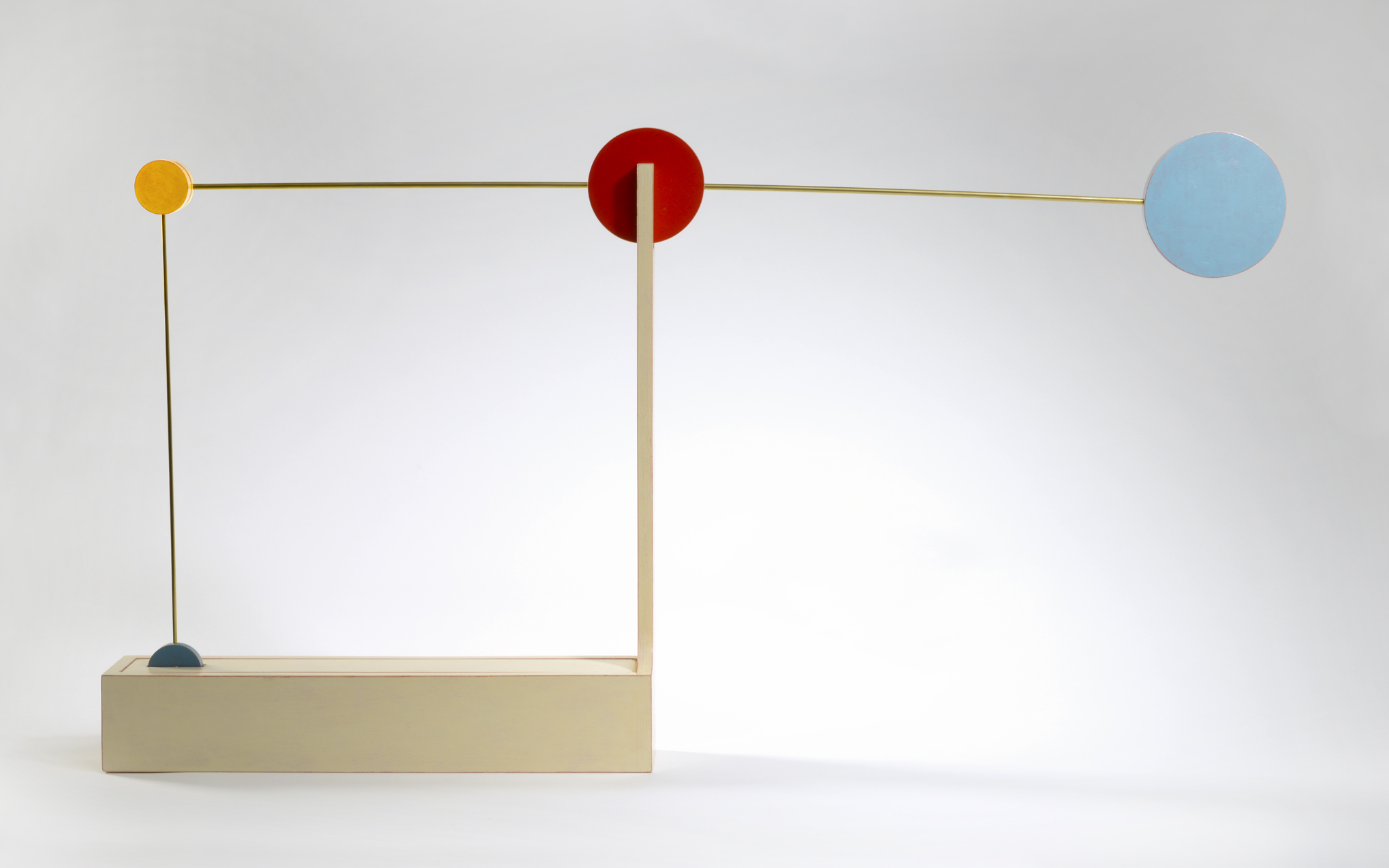 "Slow to Square (down)  Emi Ozawa, 2010  Birch Plywood, Acrylic Paint, Brass  19""H x 36""W x 3""D"