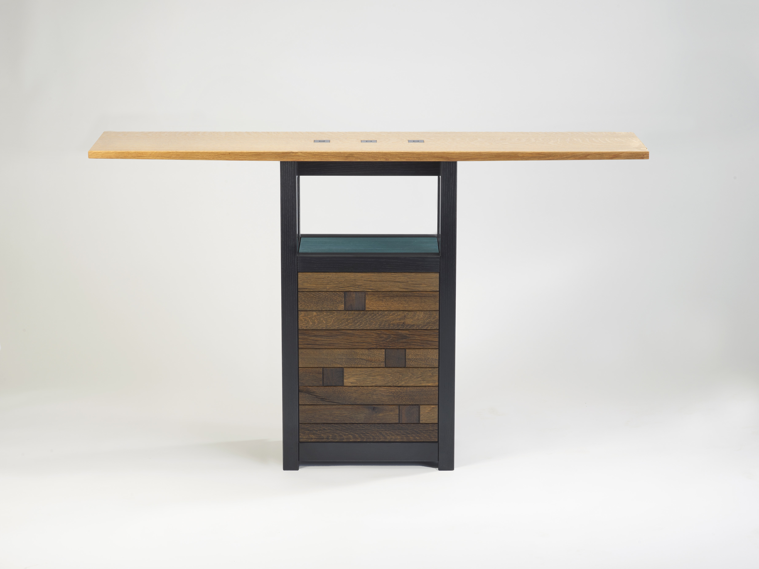 """Spud Point    Gail Fredell, 2012    33"""" high x 12"""" wide x 55"""" long    White oak, painted ash, steel details"""