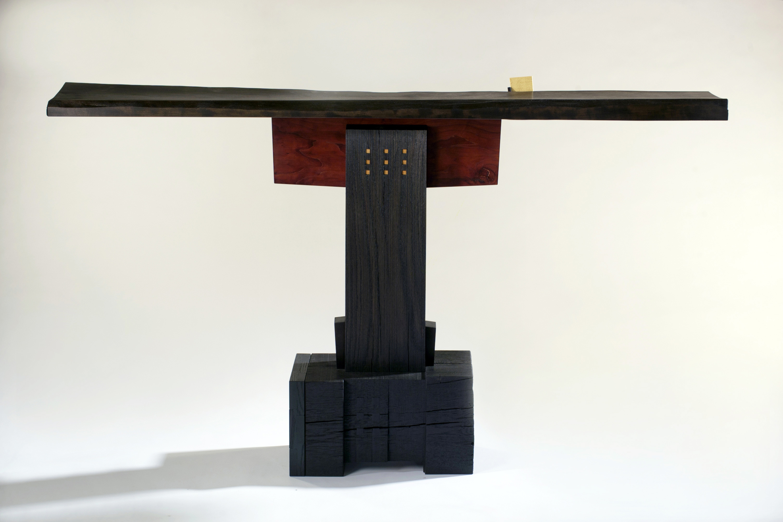 """Mad Rush    Gail Fredell, 2012      33"""" high x 11"""" wide x 57"""" long    Cherry, white oak, yellow satinwood"""