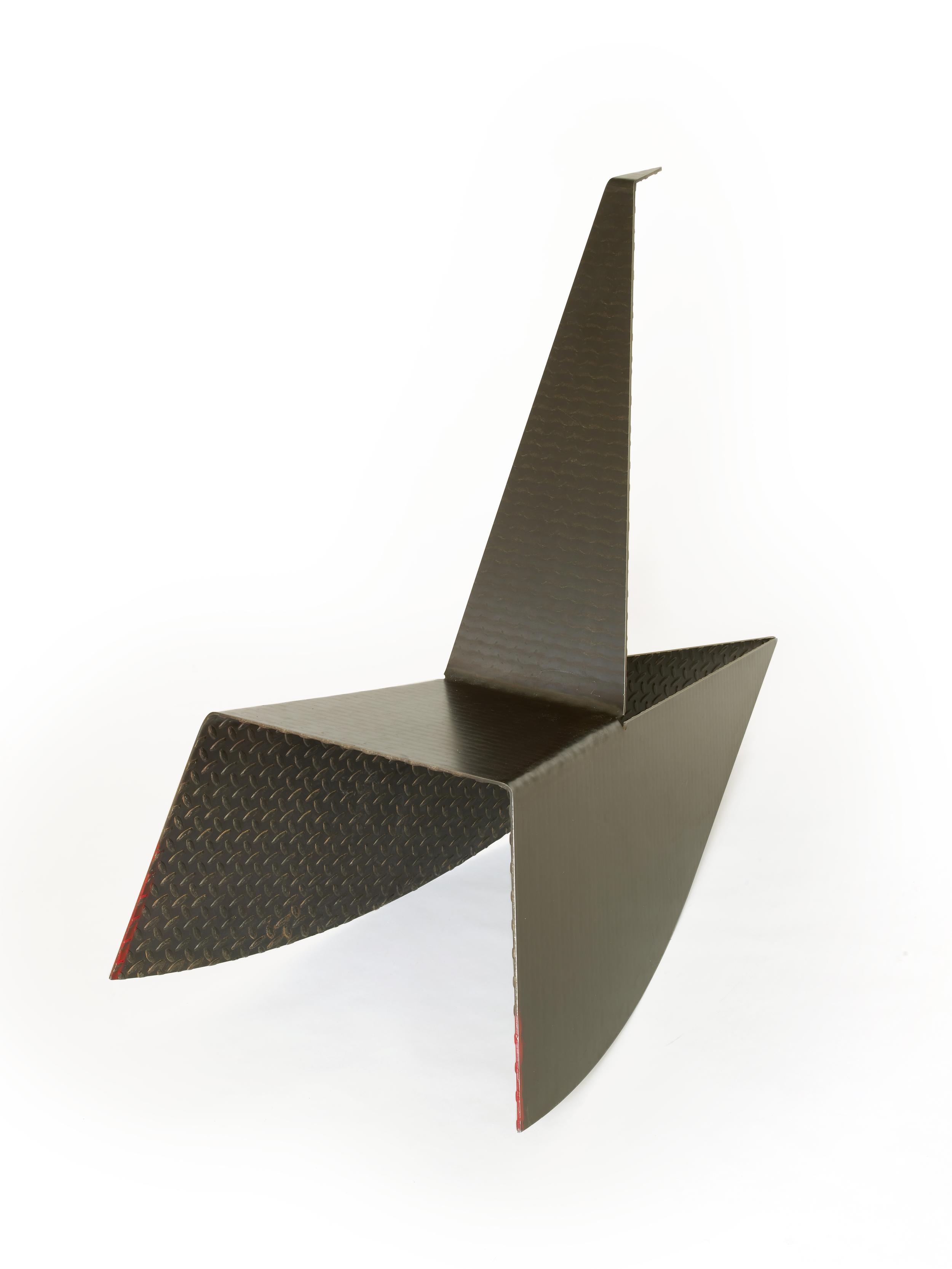 """Rocker    Gail Fredell,  1989/2014    36-1/2"""" high x 24"""" wide x 53"""" long    3/16' diamond plate steel"""