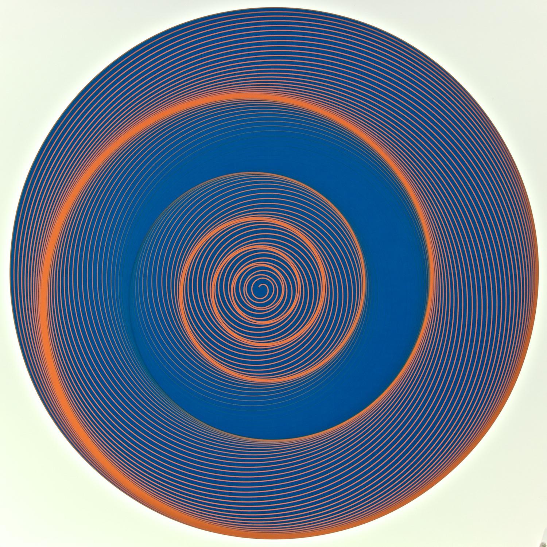 "Metagonal Disks ~67~ Blue Violet with Chinese Vermilion/Blue Violet Gradients Curve , 2014    Digital drawing, inkjet pigments    Art : 23"" x 23"" (58.5x58.5 cm)    Paper: 25"" x 24"" Epson UltraSmooth Fine Art Paper"