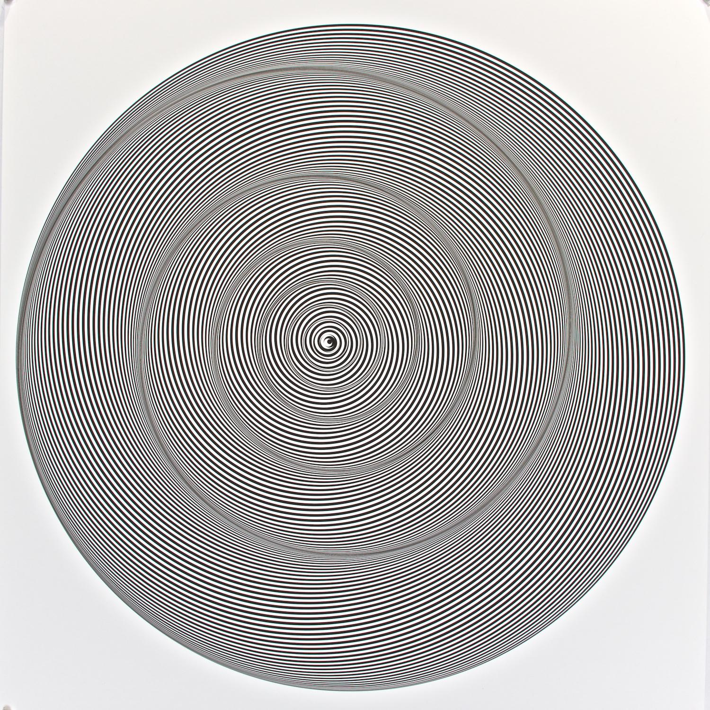 "Metagonal Crescents ~255~ Simple Black  , 2014    Digital drawing, inkjet pigments    Art: 22.75"" x 22.75"" (58x58 cm)    Paper: 25.25"" x 24"" Epson UltraSmooth Fine Art Paper"