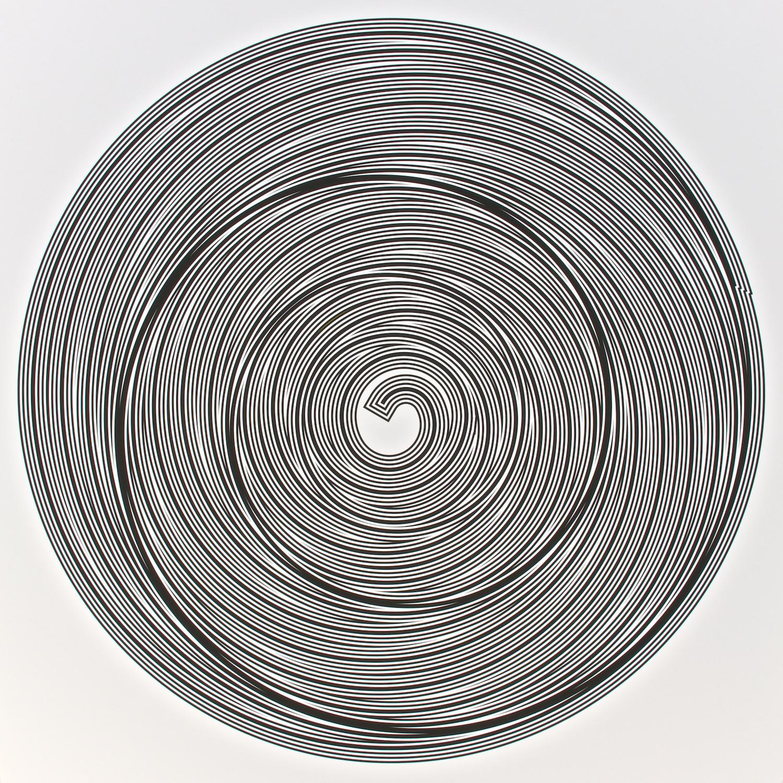 "Metagonal Variation 15f ~27~ Central Black Curve Over Composite Black & White Curve  , 2013    Digital drawing, inkjet pigments    Art: 22.5"" x 22.5"" (57x57 cm)    Paper: 25"" x 24"" Epson UltraSmooth Fine Art Paper"