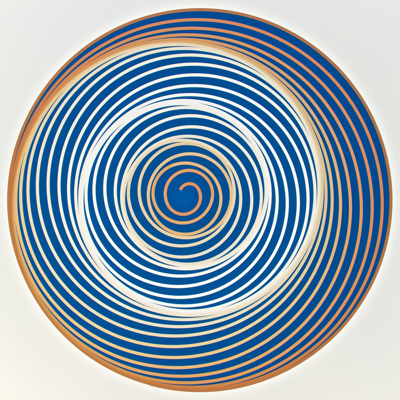 "Metagonal Disks ~17~ Ultramarine Light with White/French Ochre Gradients Curve , 2013    Digital drawing, inkjet pigments    Art: 22.25"" x 22.25"" (56x56 cm)    Paper: 25"" x 24"" Epson UltraSmooth Fine Art Paper"