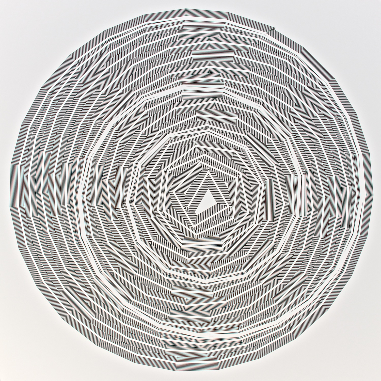 """Metagonal Variation 16ca ~27~ Central White Line Over Composite Black and White Line , 2013    Digital drawing, inkjet pigments    Art : 22.25"""" x 22.25"""" (56x56 cm)    Paper : 25"""" x 24"""" Epson UltraSmooth Fine Art Paper"""