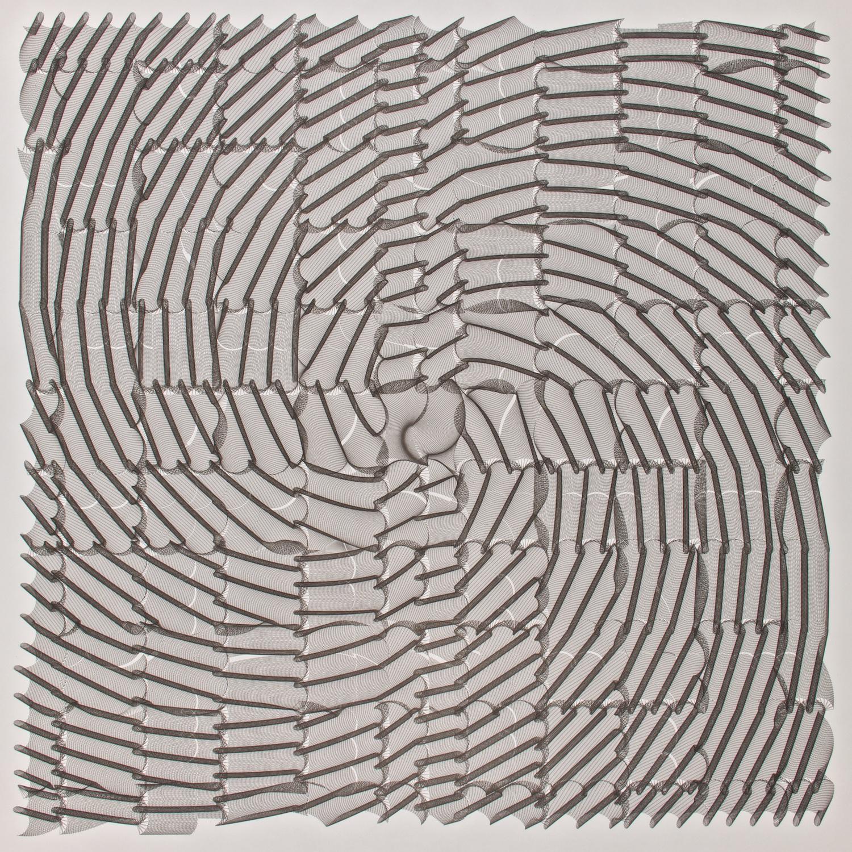 "B1   China ink on paper - pen plotter drawing, 1987   Art : 33""x33""    Paper : Hewlett-Packard 38""x36"""