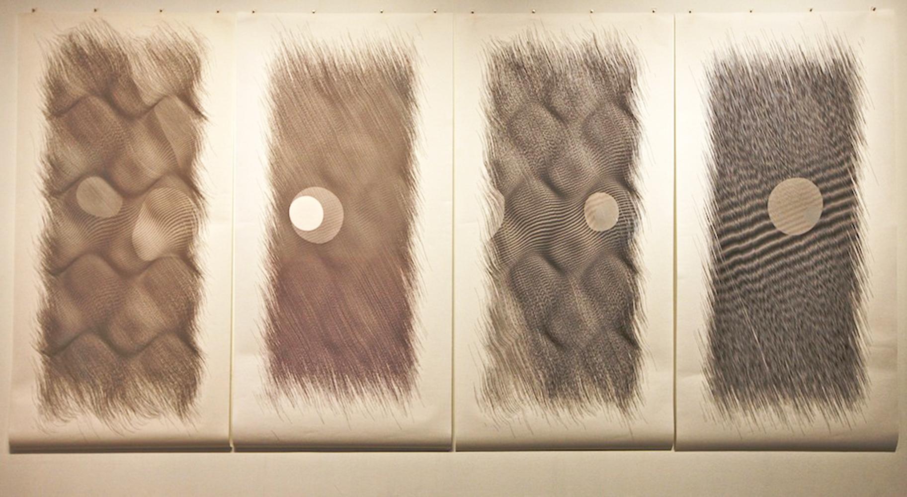 "Wavelets    Ink on paper - pen plotter drawing    Art : 76""x152"" total (4 panels 76""x38"" each)    Paper : Torinoko"