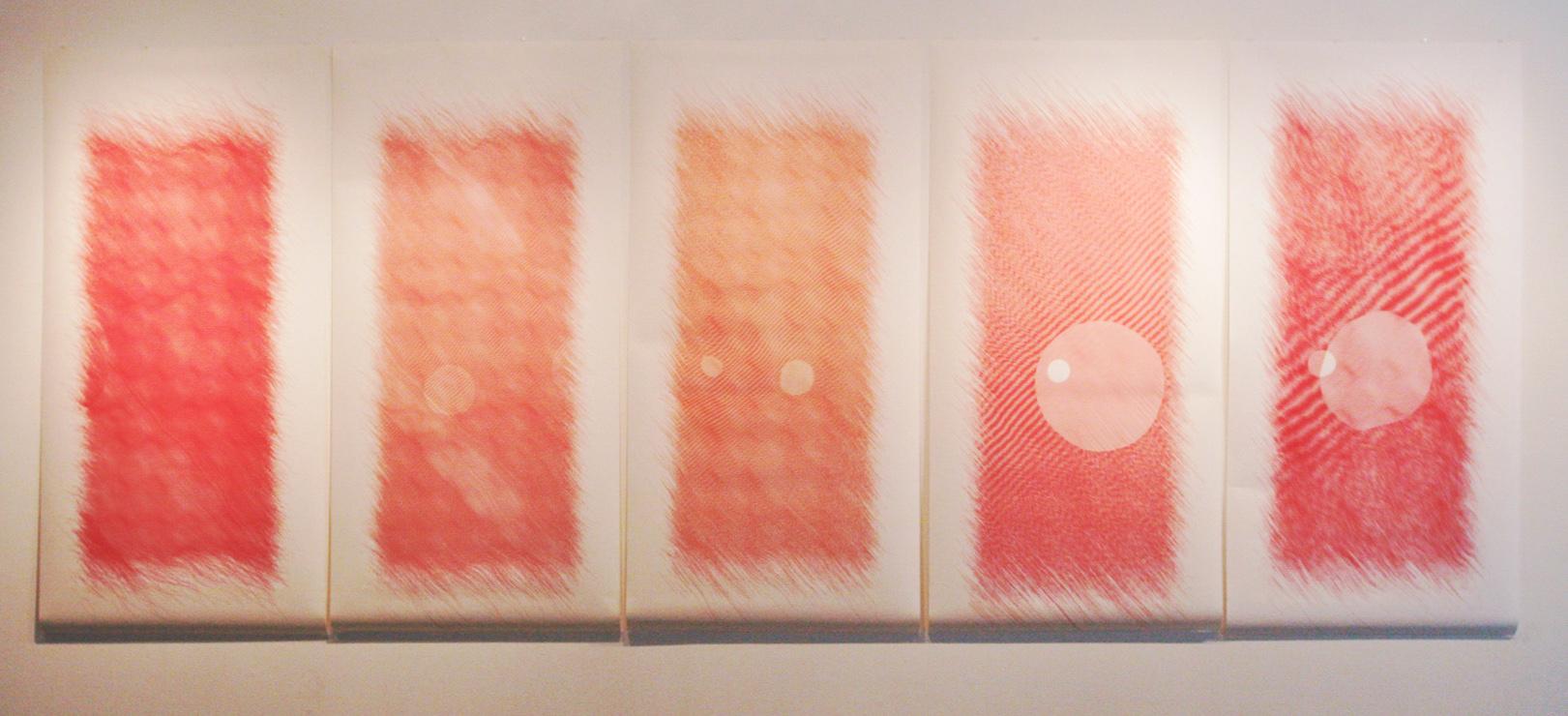 "Bright Wavelets    Ink on paper - pen plotter drawing    Art : 76""x190"" total (5 panels 76""x38"" each)    Paper : Torinoko"