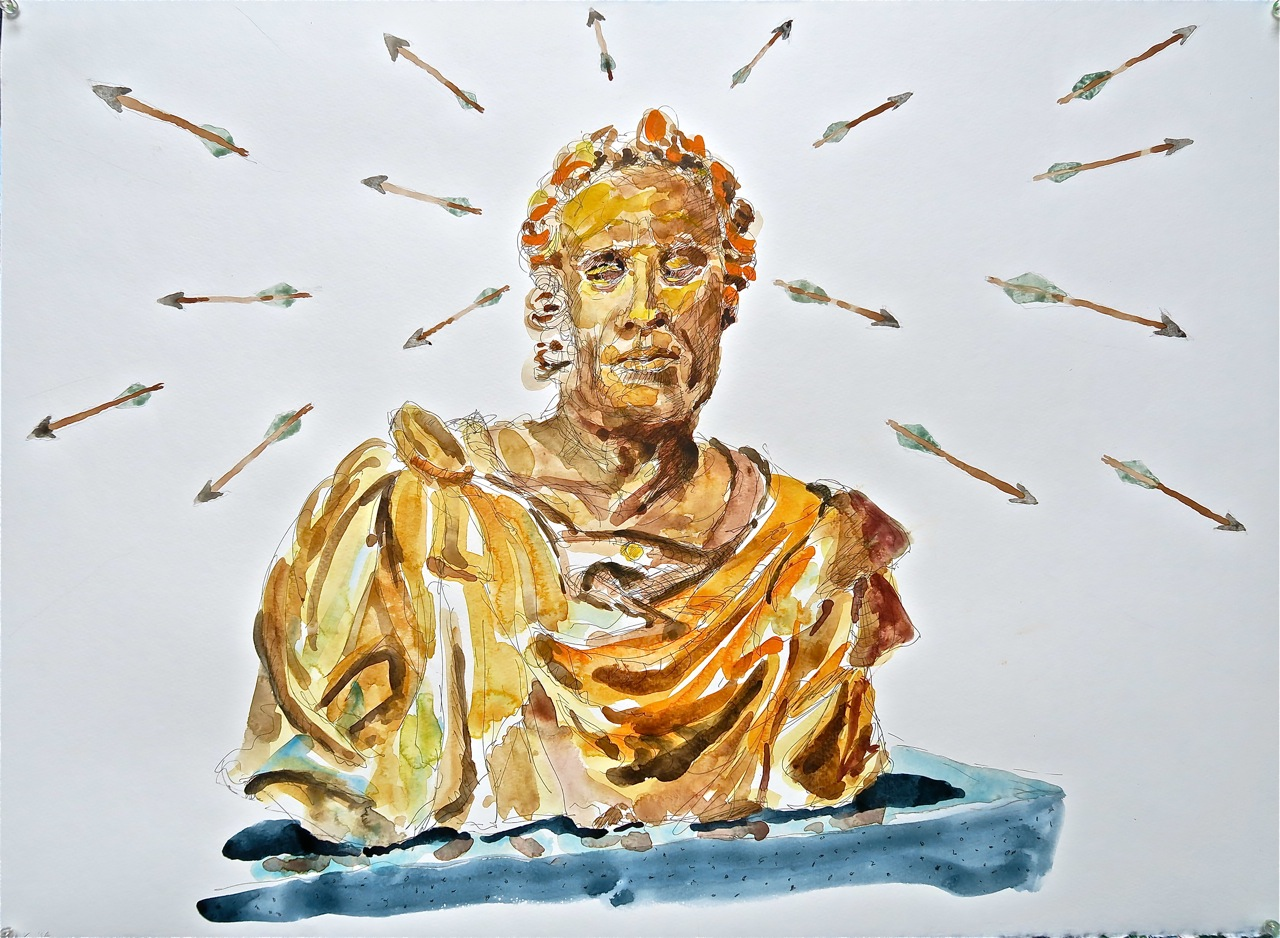"Bust of Virgil, Civic Museum, Mantova,   2014     22""x30"" watercolor"