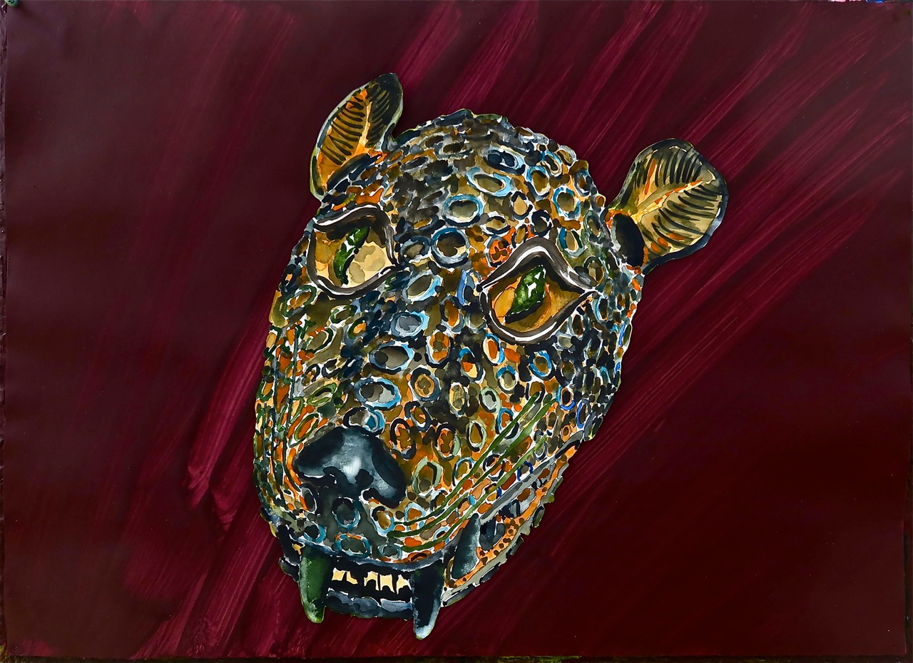 "Leopard Head, Benin      2015     22""x30"" watercolor, acrylic, on paper"