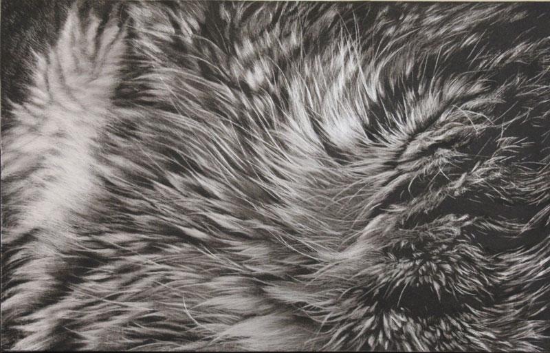 "Fileseffer | 2012 | scraped oil on aluminum | 16"" x 10"" |"