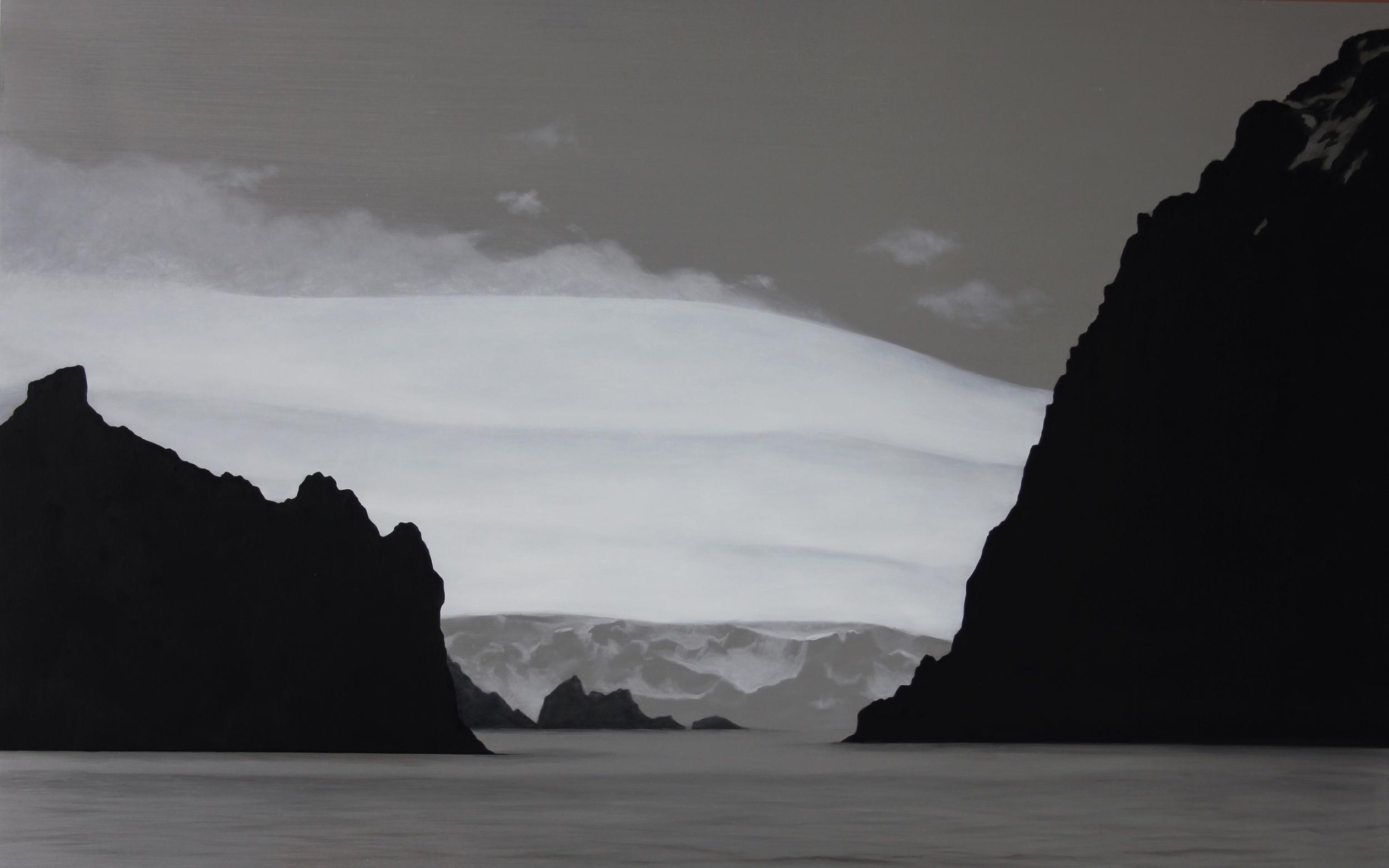 "Antarctic Islands and Glacier | 2012 | Oil on aluminum | 25"" x 40"" |"