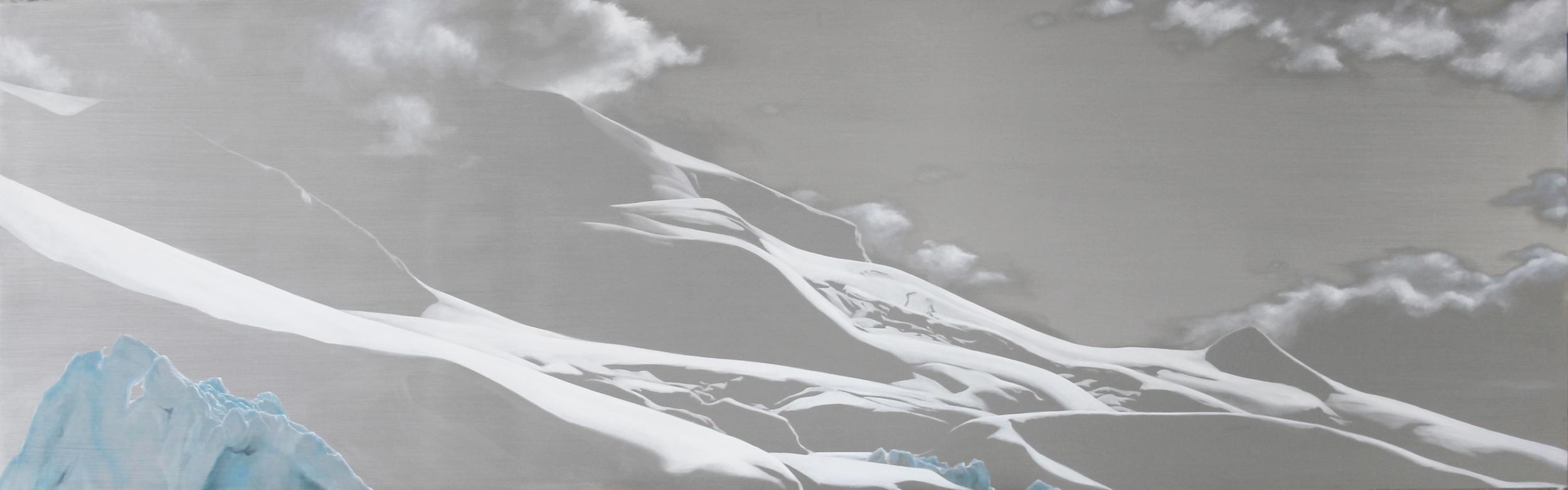 "Paradise Bay Coast | 2012 | oil on aluminum | 25"" x 80"" |"