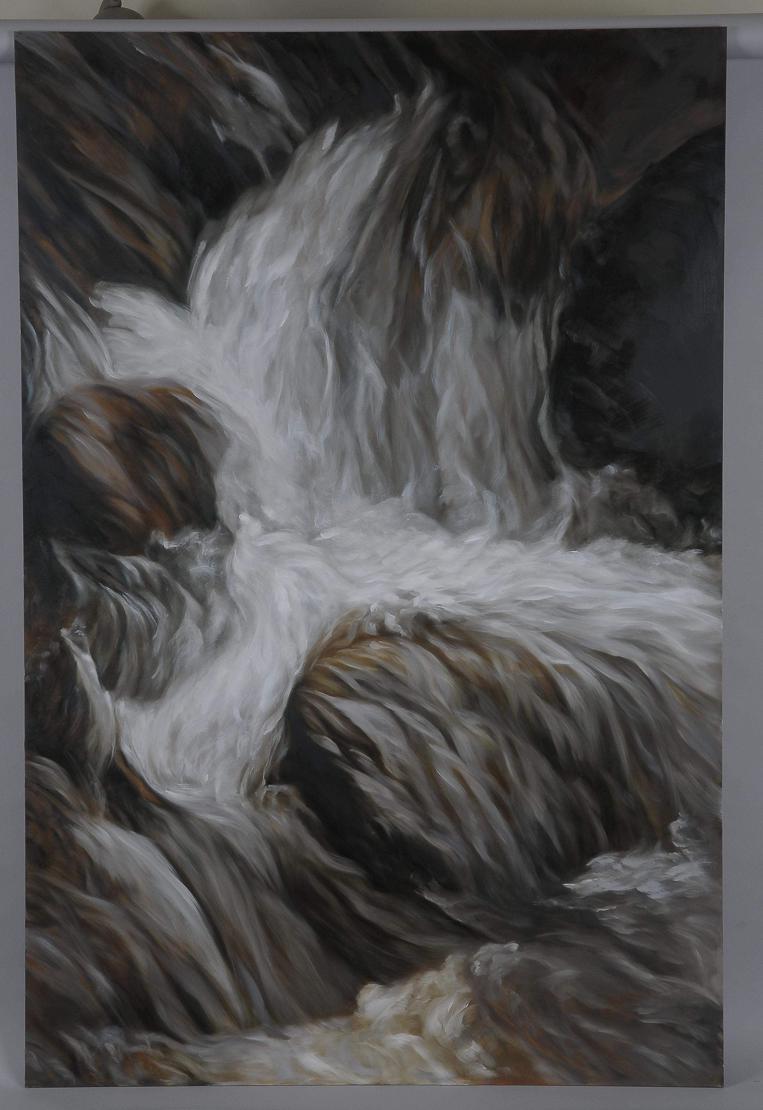 """Montana Waterfall  2014  63"""" H x 42"""" W  oil paint on gesso board"""