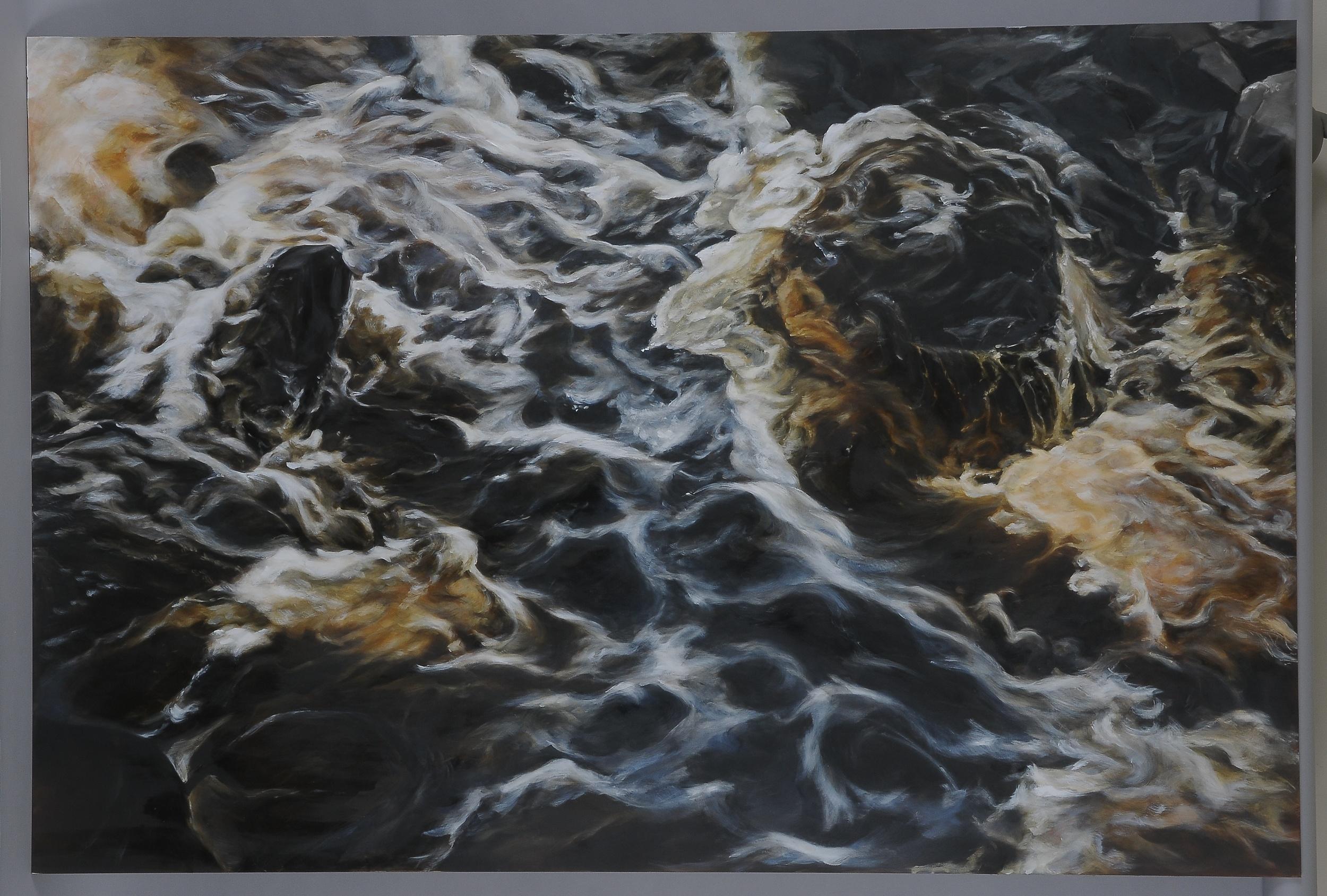 """Herring Run  2014  42"""" H x 63"""" W  oil paint on gesso board"""