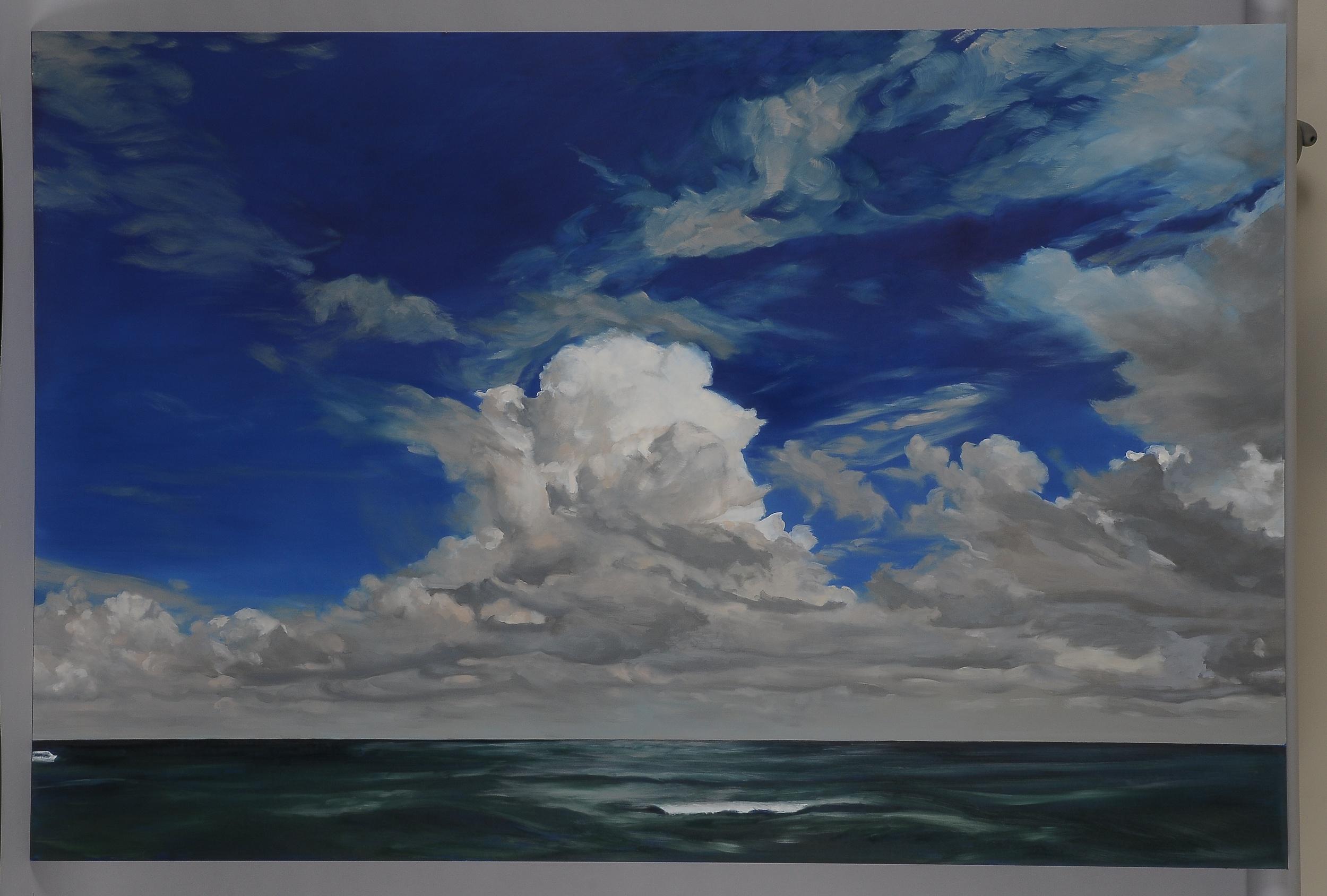"Florida Cumulus  2014  42"" H x 63"" W  oil paint on gesso board"