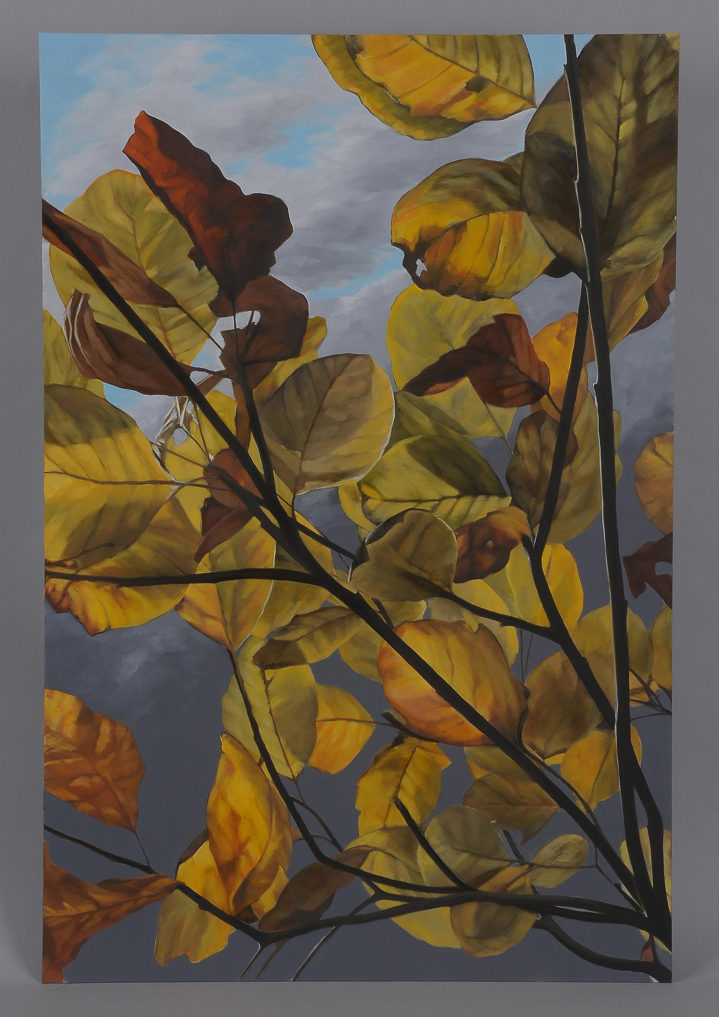 "Backlit Leaves  2014  42"" H x 28"" W  oil paint on gesso board"