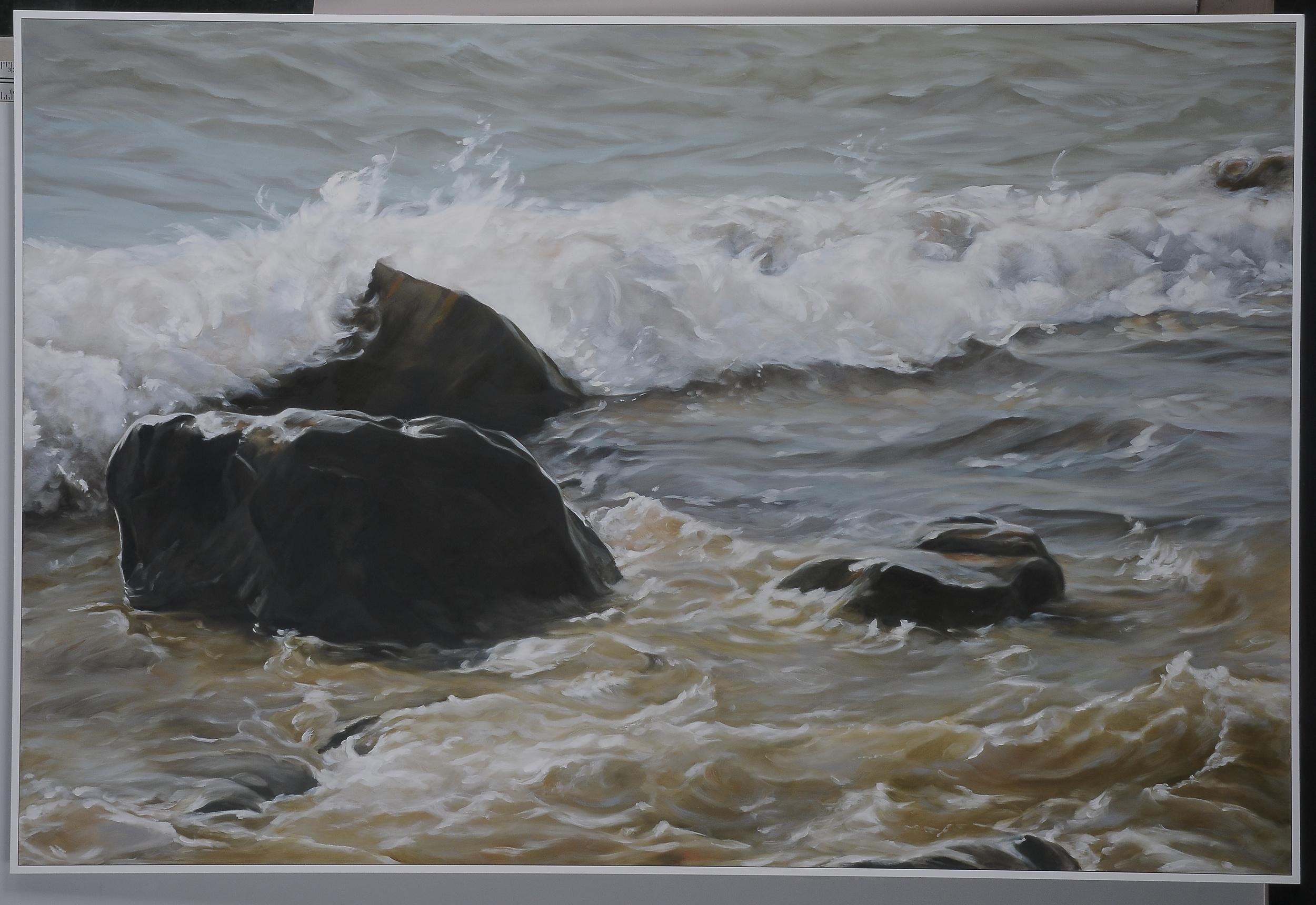 "Gooseberry Surf  2015  42"" H x 63"" W  oil paint on gesso board"