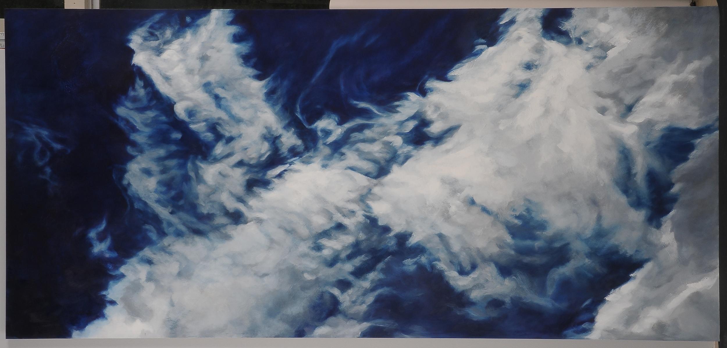 "Summer Skies  2015  42"" H x 90"" W  oil paint on gesso board"