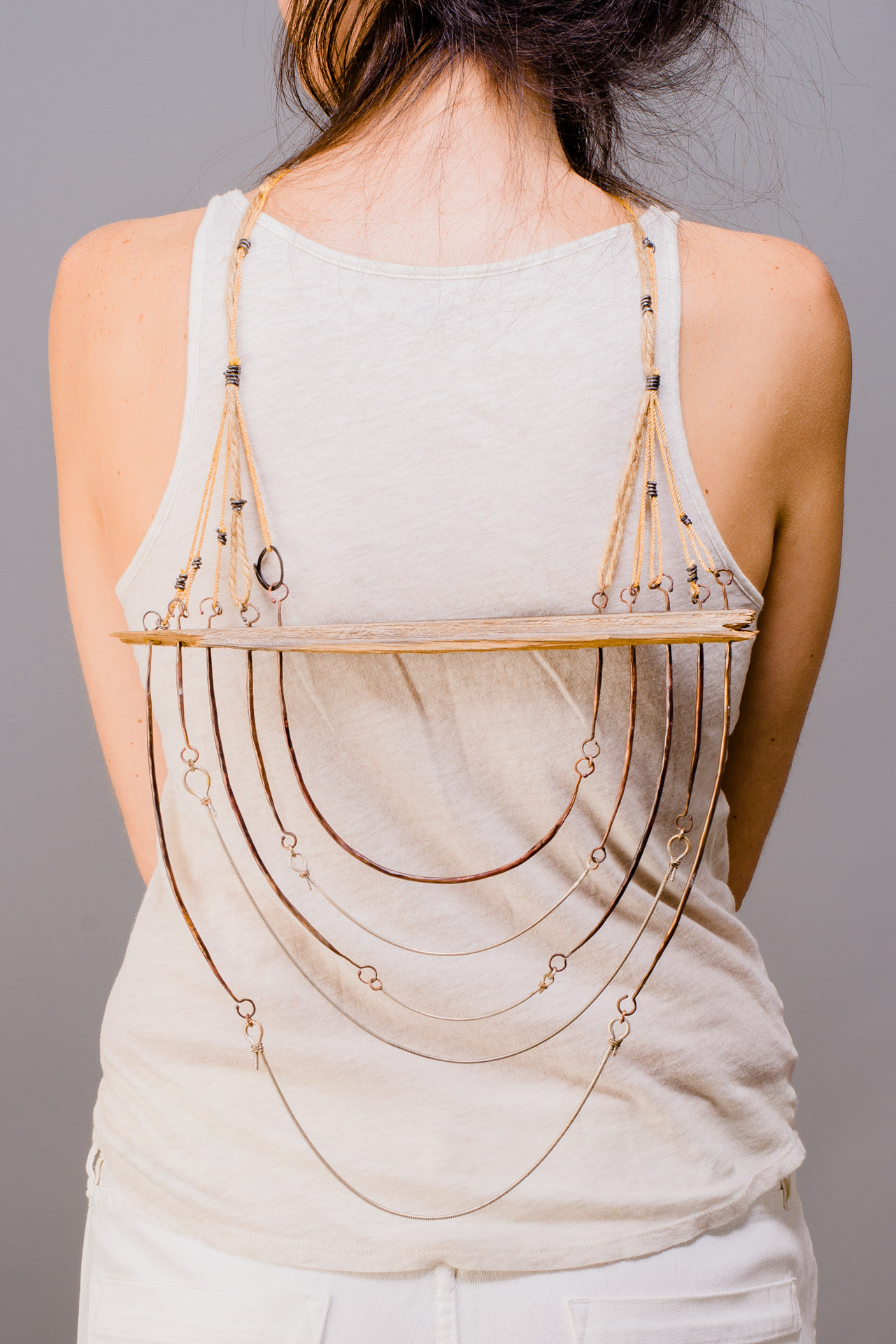 Parallel    Lindsay Miś, 2014  Silver, copper, steel, wood, cord, jute