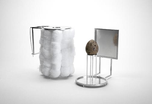 "Memoir to My Mother    Nick Heyl  5 1/5""x 3 1/5"" x 5""  925 silver, steel, cotton, egg"
