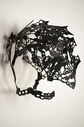 """A Part of Me    Sarah T. Roberts, 2014  9"""" x 7"""" x 7""""  Powder-coated aluminum"""