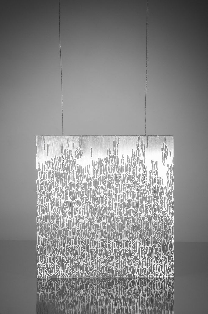 """Grey Matter #2    Sharon Portelance, 2014  4"""" x 4"""" x 38""""  Sterling silver, coated steel cable"""