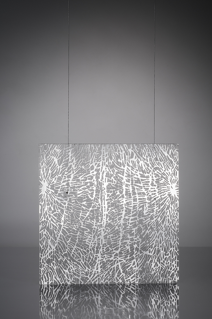 """Grey Matter #1    Sharon Portelance, 2014  4"""" x 4"""" x 38""""  Sterling silver, coated steel cable"""