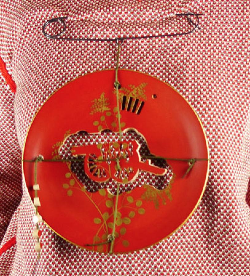 "11 RPH Cannon    Melissa Cameron  10 1/2 x 8"" x 1 1/2""  Vintage Japanese lacquer ware, cotton thread, coppe"