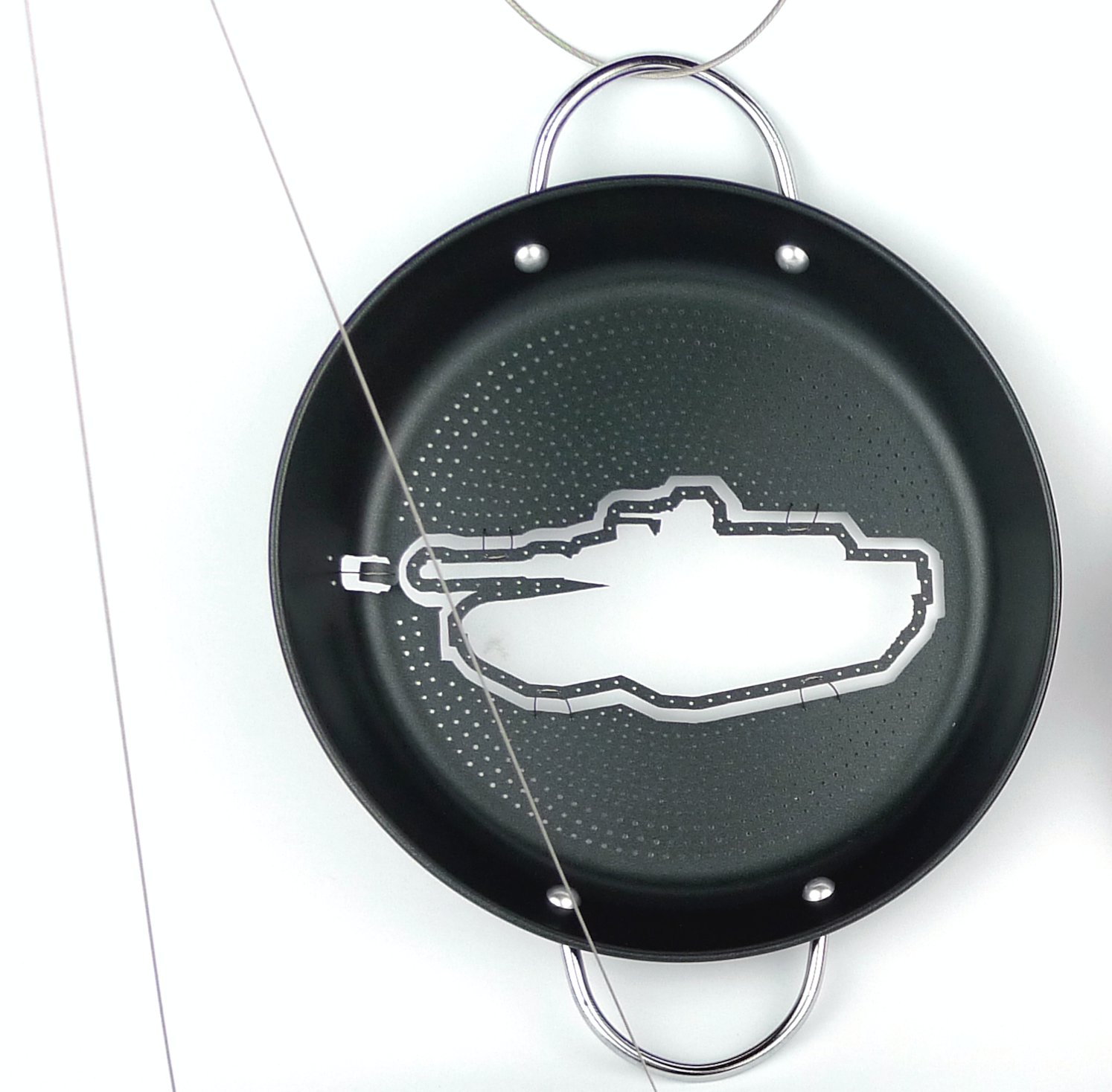 """M1 Abrams    Melissa Cameron, 2013  6"""" x 2 3/4"""" x 3/4"""" on 25"""" chain  Non-stick coated steel, stainless steel cable, silver solder"""