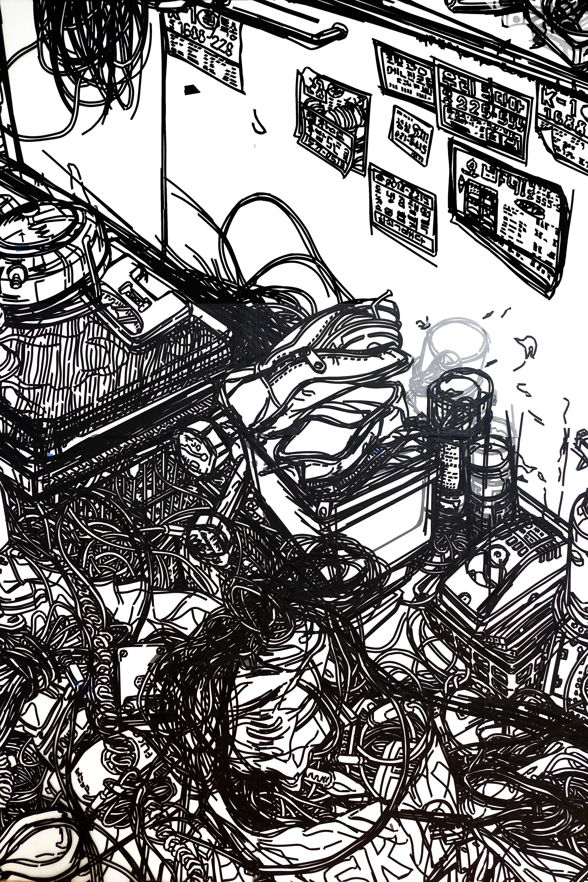 Heeseop Yoon   Still Life #31 ,2015  Detail View, Dedee Shattuck Gallery, MA  Black Masking tape on Mylar  8' x 26