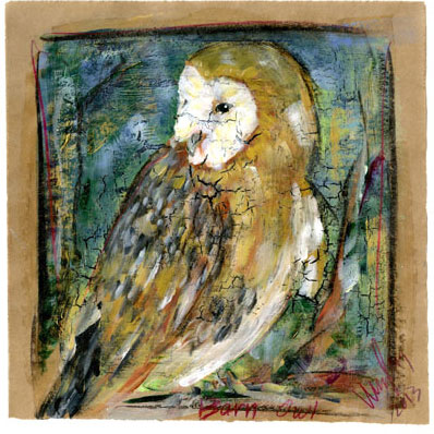 Barn Owl  (unavailable, similar works available)  Acrylic on brown paper  Sold