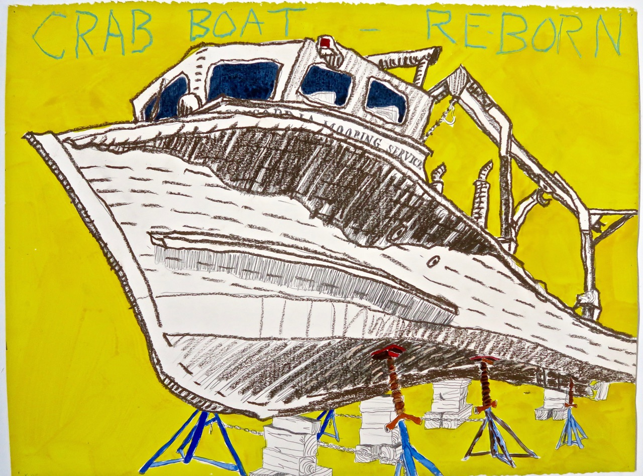 "Crab Boat - Reborn   2005 22""x30"" mixed media on paper"