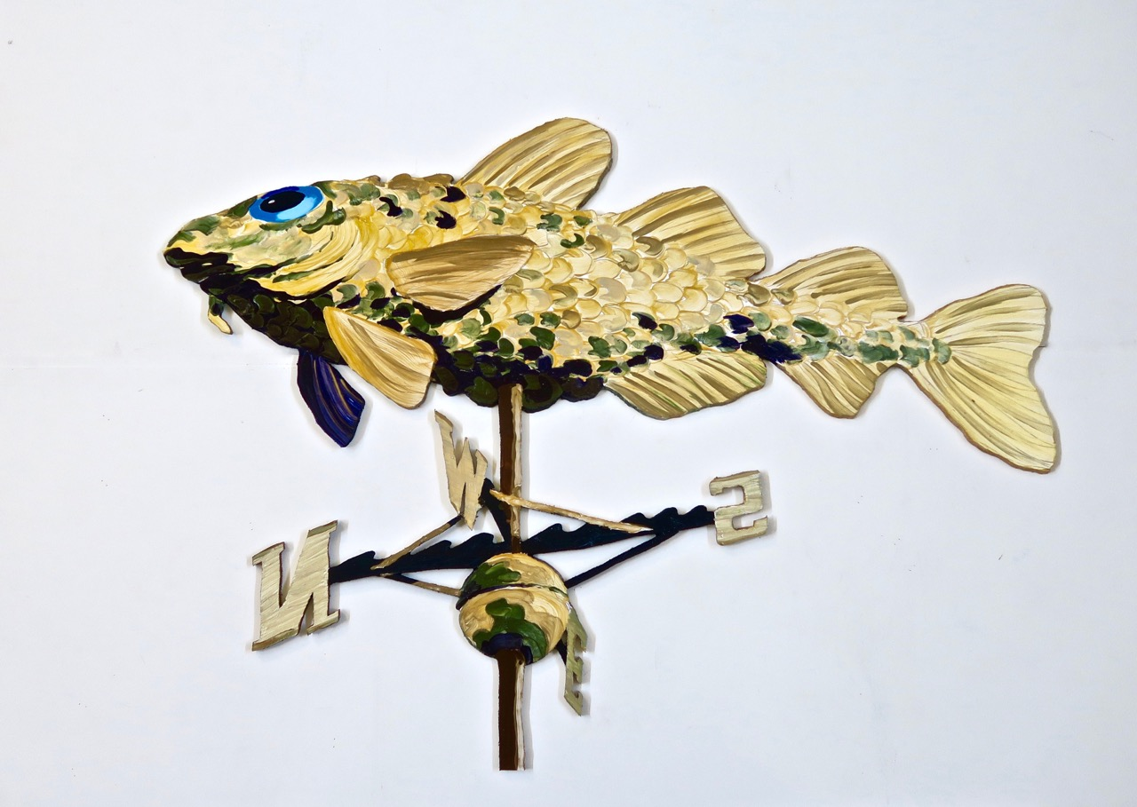 "Cod Weathervane   2016 49""x 70"" acrylic on Gatorboard"