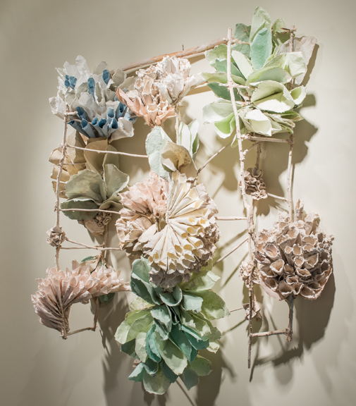 "Green Bloom, 2014  Porcelain paper clay, handmade paper, organic material, 51"" x 55"" x 15""  $6000"