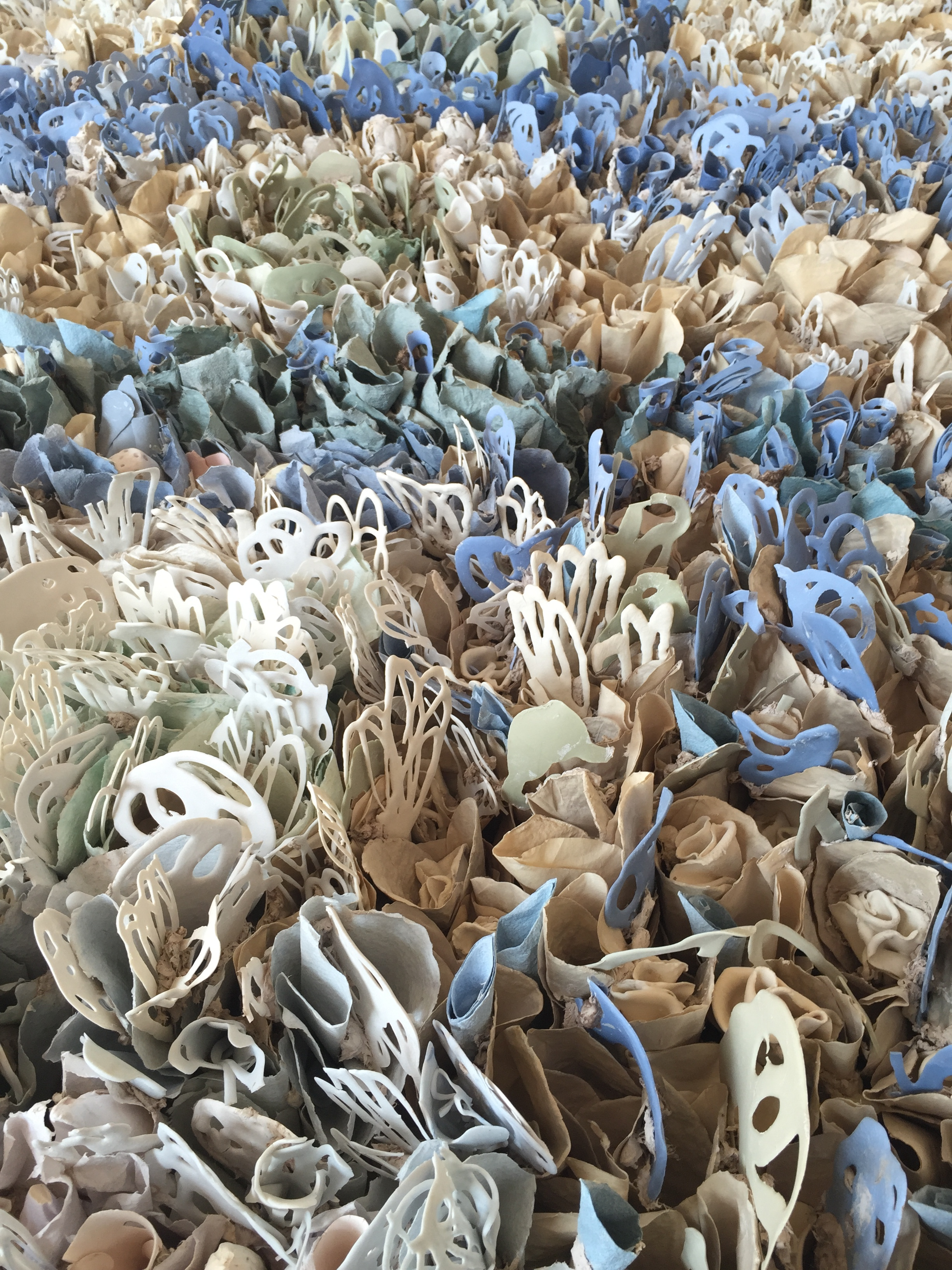 """Blue, Patterns of Nature (detail), 2015  Porcelain paper clay, handmade paper, and organic material,126"""" x 60"""" x 9""""  $12,500"""