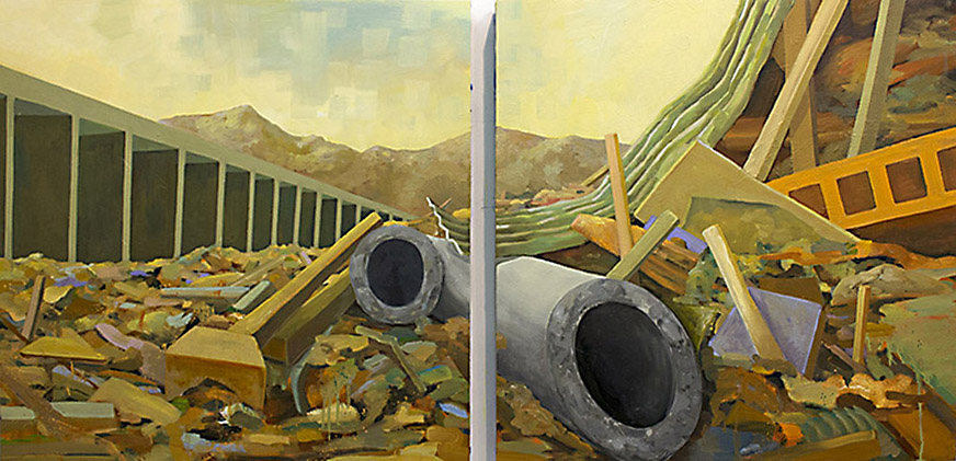 "Conduit , 2014  70"" x 35,"" Oil on Panel  $3200"