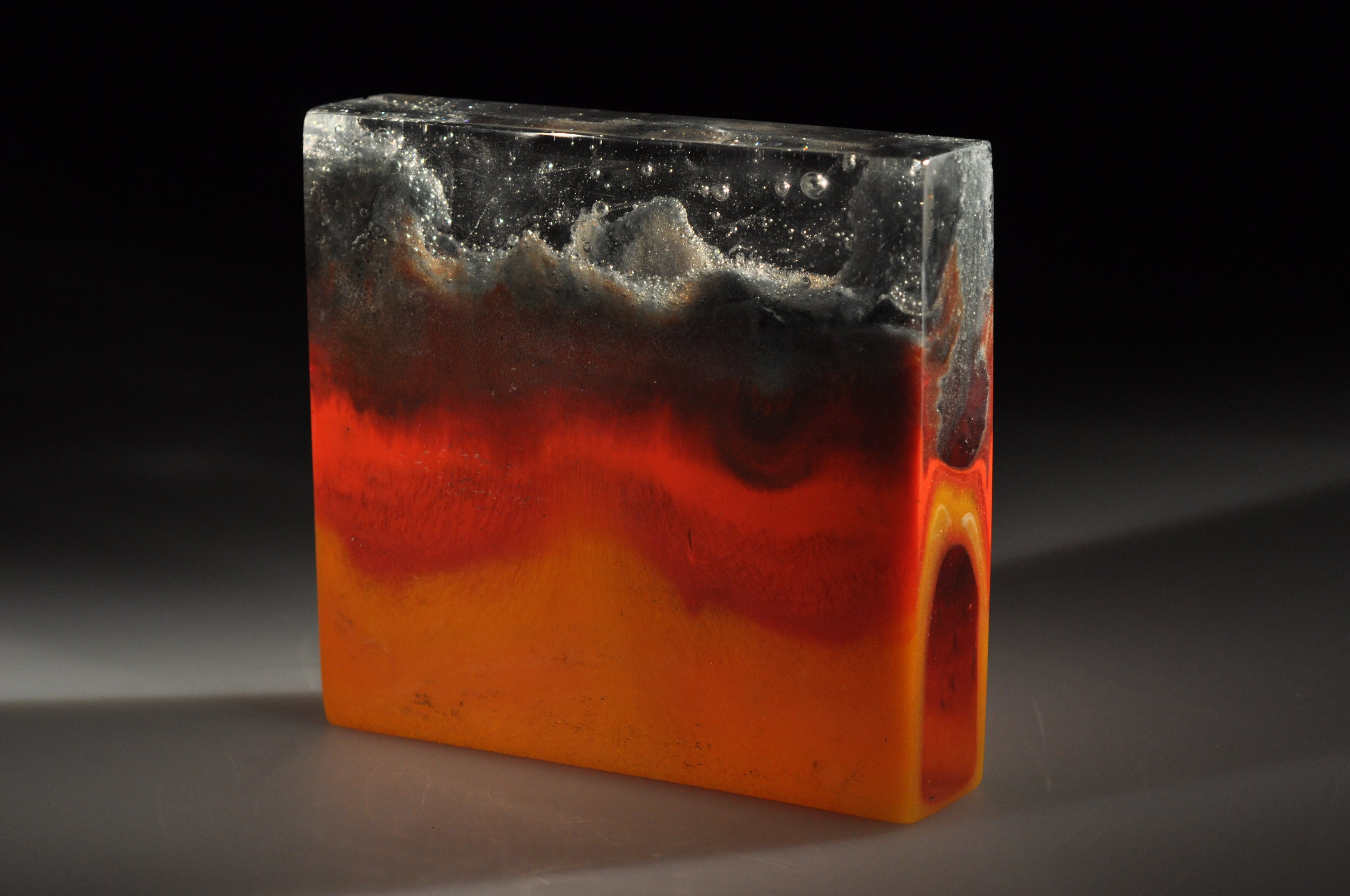 Thermal Convection 2  Kiln cast glass, glass sediment  5 ¼ x 5 ½ x 1 ¼ inches  $800