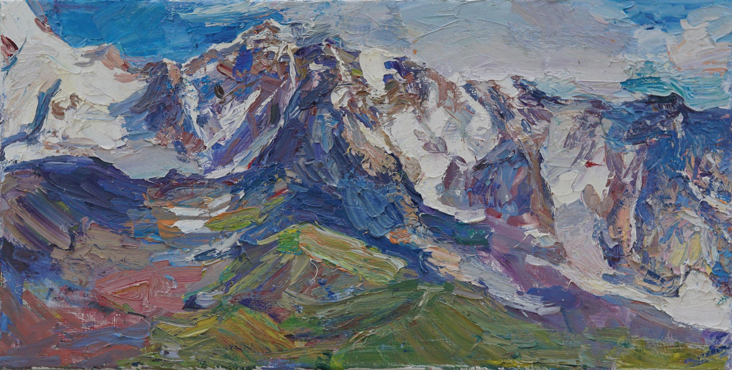 Shrahra Mountain, Georgia,   13 3 4 x 27 1 4,  Oil,Linen.jpg