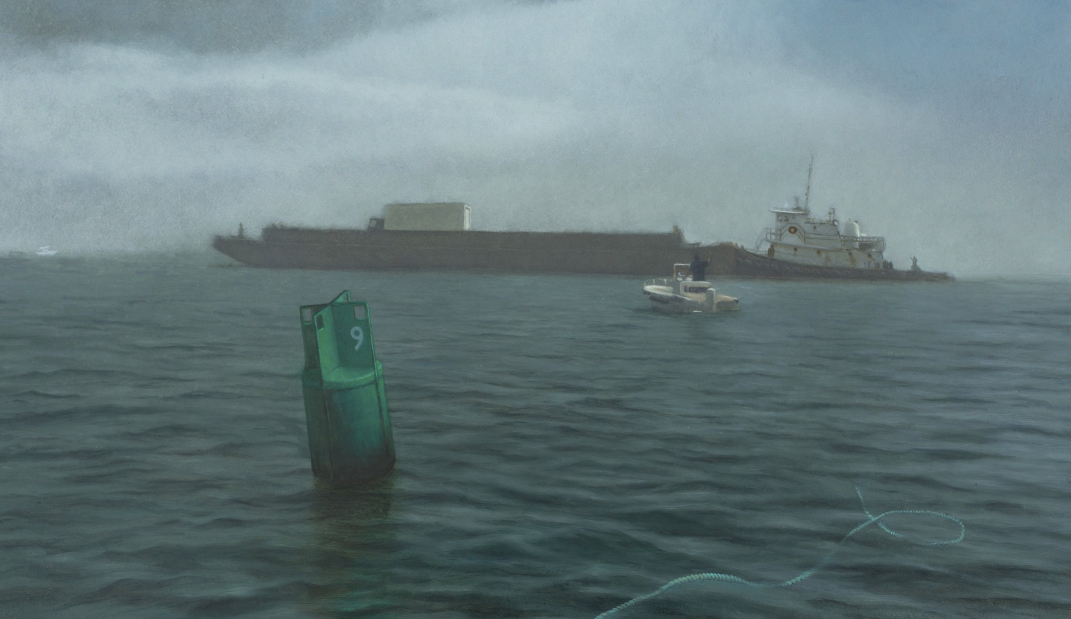 Barge in the Fog  oil on panel  13 x 22.5 inches  $3,600