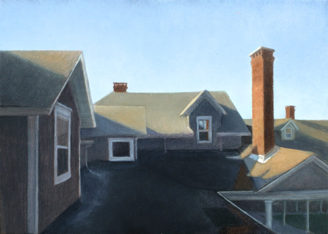 Morning on the Avalon Roof  oil on panel  5 x 7 inches  $1,000