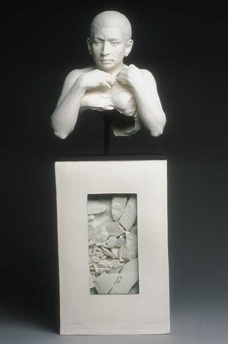 """Vessel (front)  white stoneware, glass panels, steel rod  25"""" high  $6,500"""