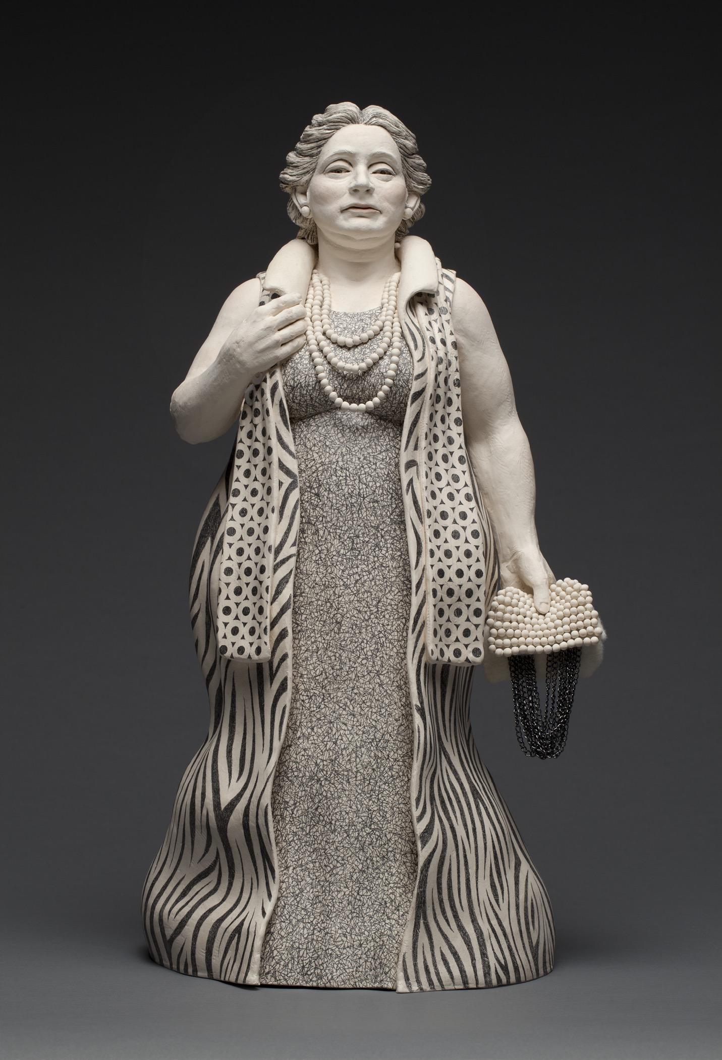 "Beaded Bag (front)  stoneware, metal chain, felt, graphite pencil  23"" high  $6,500"