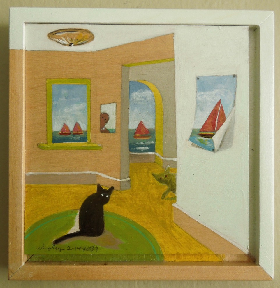 Two Cats, Four Red Sails