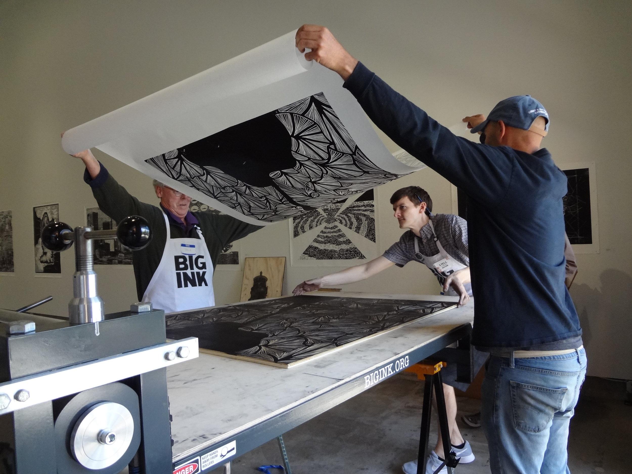 Printing a woodblock by Jenya Damsky